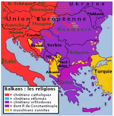 Map of Balkans with religions
